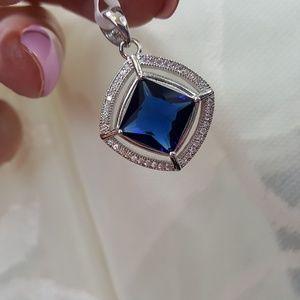 Jewelry - Simulated Blue Sapphire n White Diamond Pendant